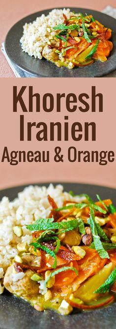 Un khoresh d'agneau divin, spécialité iranienne qui cuit doucement dans du jus d'orange, avec des écorces d'orange, de la menthe et des pistaches.