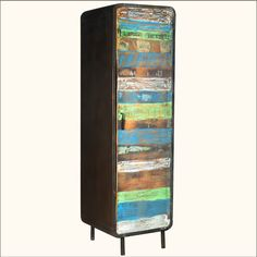 "1. 1950's Retro Reclaimed Wood & Iron 74"" 4-Shelf Armoire Cabinet. Cool stuff here!"
