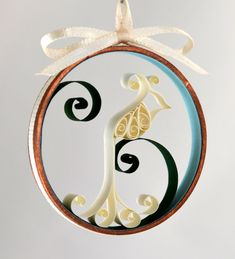 Christmas ornament white bird dove quilled paper in copper