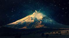 1366x768 Snowy Mountain Starry Sky