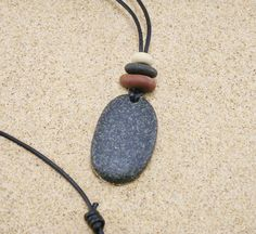 Beach Stone Pendant, Lake Michigan Stacked Pebble & Pendant Necklace with Black Leather Cording Adjustable to 26 Inches, Raw Stone Jewelry by StoneCairns on Etsy