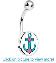 Tattoo Inspired Turquoise Nautical Love Anchor Belly Ring Belly Button Piercing, Belly Button Rings, Anchor Belly Rings, Nautical Anchor, Navel, Letters, Turquoise, Tattoo, Inspired
