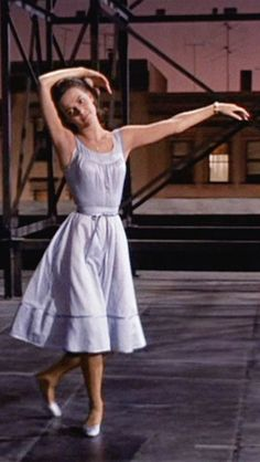 Maria, West Side Story (1961) {that scene when she's dancing on the rooftop or when she runs down the stairwell after Chino and her skirt is literally floating!!}