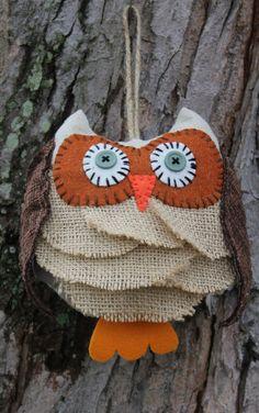 Cute little burlap owl! I just love him!!!