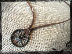 Gears Necklace Mens Necklace Leather and Gears Necklace