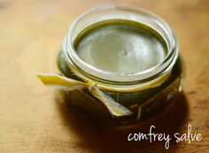 natalie creates: make your own comfrey salve for minor cuts & wounds. It stimulates skin cell growth.