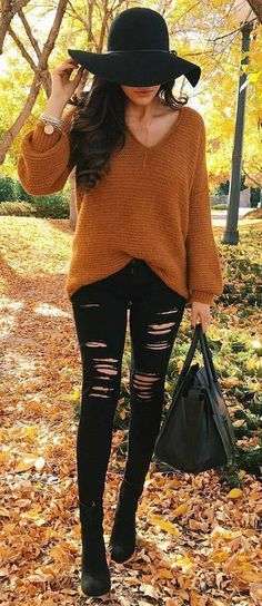 #cute #outfits Camel Sweater // Ripped Jeans // Leather Tote Bag // Black Booties