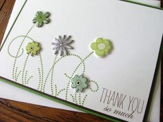 THANK YOU so much with Puffy Flowers and Swirly Grass - handmade greeting card. $4.50, via Etsy.