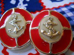 vintage earrings / ANCHOR nautical motif 1980s retro plastic EARRINGS on Etsy