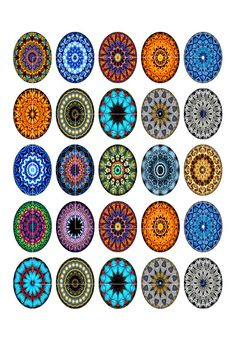 Digital Collage Sheet Mandala Designs Oval by MobyCatGraphics