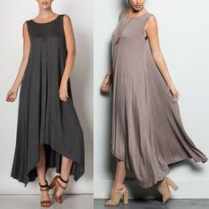 JILL LONG DRESS WITH POCKET - MOCHA/CHARCOAL LONG DRESS WITH POCKETS - CHARCOAL & mocha. 95%RAYON 5% SPANDEX Bellanblue Dresses Maxi