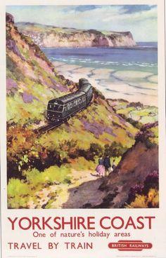 1959 British Rail Yorkshire Coast Poster A3 by VintagePosterShopUK