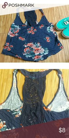 CUTE FLORAL TOP🌹 Dark blue top with red and pink flowers. The back is super cute and has lace as seen in the picture. Only worn once but was too small! Eyeshadow Tops