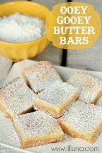 Ooey Gooey Butter Bars | TheBestDessertRecipes.com