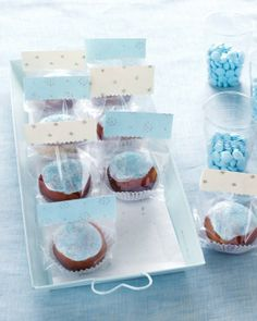 """""""Glittered"""" Sufganiyot as party favors."""
