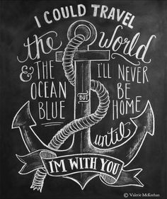 """This nautical print features the words """"I could travel the world and the ocean blue but I'll never be home until I'm with you"""" hand lettered around a hand drawn anchor and rope illustration. ♥ Our fin"""