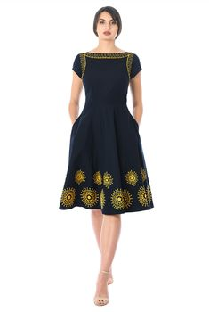 Our cotton poplin dress in a flattering fit-and-flare is embellished with graphic florals at the full flared skirt and neckline. Dressy Dresses, Modest Dresses, Dress Outfits, Wrap Dresses, Frock Fashion, Indian Fashion Dresses, Fashion Outfits, Stitching Dresses, Short Summer Dresses