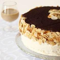 Coffee and Irish Cream Layer Cake with Mascarpone Frosting.