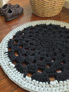 Crochet rug  black & grey Recycled cotton tshirt by Chompa on Etsy, $180.00
