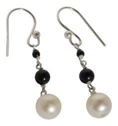 Black Onyx with White Cultured Freshwater Pearl Dangle Earrings in Sterling Silver Blue Breeze Jewelry http://www.amazon.com/dp/B008DMLL3M/ref=cm_sw_r_pi_dp_43cVtb0BZGTB4P73