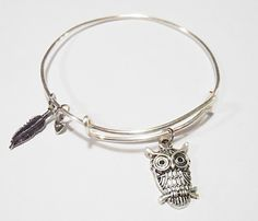 Owl Alex and Ani Inspired Charm Bracelet by SetTheTrend on Etsy