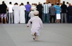Namaz Photos - A little boy is running to join the Namaz - Namaz (Salat) Pictures