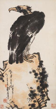 Pan Tianshou (1897-1971) Almighty Gaze Ink and colour on paper, framed and glazed Inscribed and signed Shou, with three seals of the artist and one seal of the collector Dated 1961 99.5cm x 51.5cm (39¼in x 20¼in). 潘天壽 雄視圖 設色紙本 鏡框 一九六一年作  款識:寒月先生鍳可,六一年春壽指墨。 鈐印:潘天壽印、阿壽、一味霸悍 藏印:寒月珍藏  來源:張寒月(1906-2005)舊藏  註:上款「寒月先生」即張寒月。張寒月,本名政,號寒月齋主,為中國書法家協會會員、西冷印社社員、蘇州市書法家協會顧問等。1906年,生於蘇州。15歲起自習繪畫,23歲經吳昌碩介紹,師從篆刻家趙古泥學印,從此專注於篆刻印藝。1966年,其作品《魯迅筆名印譜