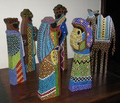Pesebre en puntillismo Nativity Crafts, Christmas Nativity, Christmas Holidays, Nativity Sets, Mandala Painting, Dot Painting, Nativity Painting, Aboriginal Dot Art, Arte Country