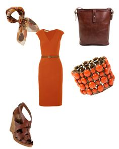 """Orange - Brown Work Dress"" by stacey-otto-sewell on Polyvore"