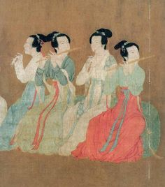 """PAINTING: Five Dynasties Gu Hong Zhong's """"Han Xizai Evening Banquet"""" c. 950 CE. Detail of a larger scroll. Using careful observation, all of the details of the Night Revels were thoroughly exposed and peoples' expressions were vivid and true-to-life. In the picture, there are more than 40 figures—all lifelike and with different expressions. The painting represented the lifestyle of the ruling class of that time indirectly."""
