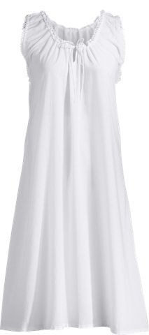 Sleeveless Cotton Nightgown with Eyelet Trim | Knee-Length