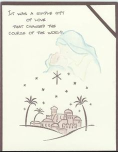 City of David homemade Christmas card with Madonna & child stamp ~love this one!