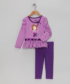 Take a look at this Purple Sofia Tunic & Leggings - Toddler by Sofia the First on #zulily today!