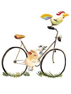 muursticker-helme-heine-s-vrienden---fietsen.jpg (720×960)