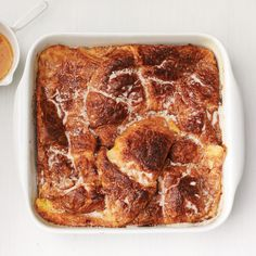 Baked Croissant French Toast With Orange Syrup Croissant French Toast, Creme Brulee French Toast, French Toast Bake, Bake Croissants, Orange Syrup, Clean Eating Snacks, Food Network Recipes, Baking, Toast Ideas