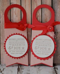 Wine Bottle Gift Tags  Warmth and Joy of the by nkatdesigns, $2.99