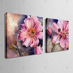 Photo Gallery - Yc Special Design Frameless Paintings Gorgeous Purpie Rose Flowers of 2 Watercolor Flowers, Watercolor Art, Floral Drawing, Plant Drawing, Acrylic Art, Painting Inspiration, Flower Art, Canvas Art, Flower Painting Canvas