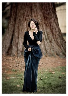 Black and Indigo 100 Wool and Batik Gown by UnsungProductions, $265.00