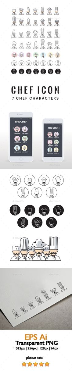 Chef Characters Icon Design - Characters Icon Template Vector EPS, Vector AI…