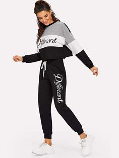 Shop Letter Print Colorblock Pullover and Sweatpants Set online. SHEIN offers Letter Print Colorblock Pullover and Sweatpants Set & more to fit your fashionable needs. Sporty Outfits, Fall Outfits, Cute Outfits, Nike Pullover, Teen Fashion, Fashion News, Womens Fashion, Fashion Pants, Fashion Outfits