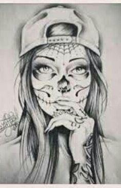 black and white sugar skull girl tattoo Chicanas Tattoo, Arm Tattoos, Tattoo Drawings, Body Art Tattoos, Sleeve Tattoos, Tatoos, Skull Drawings, Celtic Tattoos, Chest Tattoo