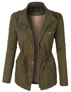 LE3NO Womens Faux Fur Anorak Military Jacket with Pockets