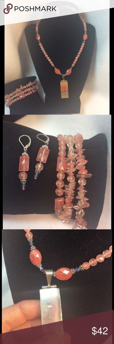 Sterling Rhodochrosite Necklace, E/R & Bracelets Beautiful shapes and colors of pink!  Three stretch bracelets, a pair of lever back dangle earrings, and a beautiful necklace with a Sterling and dichroic glass pendant!   Shade of pink that will look wonderful with so many colors in your wardrobe; summer or winter! Artisan Jewelry Necklaces