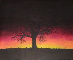 Sunset behind tree done with acrylics on canvas.  This would be fun in chalk pastels