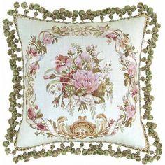 Aubusson Silk Floral Garland Wreath Pillow
