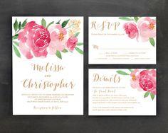 Printable Wedding Invitation Template Set by JazzHandsPaperCo