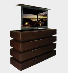 pop up tv lift. Meet the Le Bloc custom modern pop up TV lift cabinet. Modern Tv, Modern Contemporary, Modern Design, Deco Furniture, Cabinet Furniture, Dubai Houses, Contemporary Family Rooms, Custom Cabinets, Tv Cabinets
