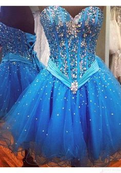 A line Sweetheart Beading Tulle Short Prom Dresses Homecoming Dresses (ED1136)