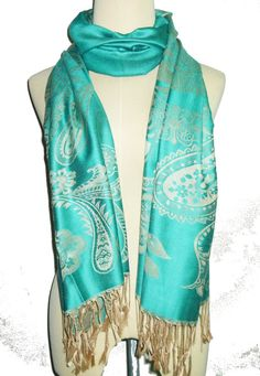Hey, I found this really awesome Etsy listing at https://www.etsy.com/listing/248157274/green-gold-scarf-68-x-27-inch-flower