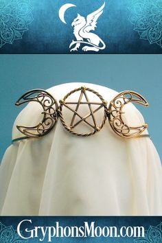 Bronze Triple Goddess Crown - Summon forth your inner Goddess! The simplicity of the central pentagram contrasts beautifully with the intricacies of the crescent moons. Made of bronze, this crown is fully adjustable, and is lacquered to preserve the brightly polished finish. Perfect for weddings and handfastings. #Crown #Wicca #Wiccan #Pagan #Witch #Pentagram #Pentacle #Paganism #Witchcraft #MoonGoddess #Goddess #Beltane #Samhain #PaganShop #WitchShop #BeTheMagic #EverydayMagic #GryphonsMoon Triple Goddess, Moon Goddess, Wiccan, Pagan Witch, Witches, Pentacle Tattoo, Pentagram Tattoo, Pagan Shop, Witch Shop